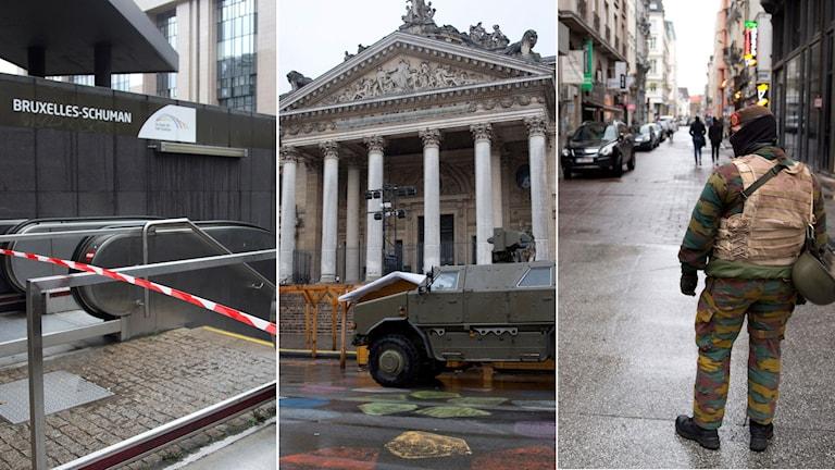 Stängd tunnelbanenedgång. Pansarvagn utanför det gamla börshuset i Bryssel. Soldat på shoppinggata i Bryssel.