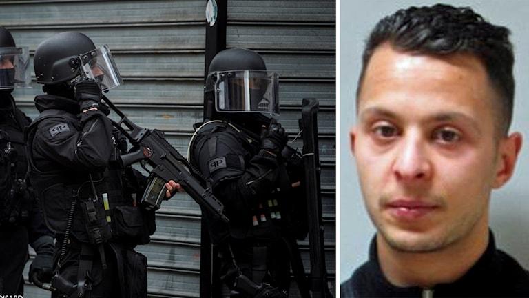 Delad bild: Fransk säkerhetspolis samt efterlyste Salah Abdeslam. Foto: TT.