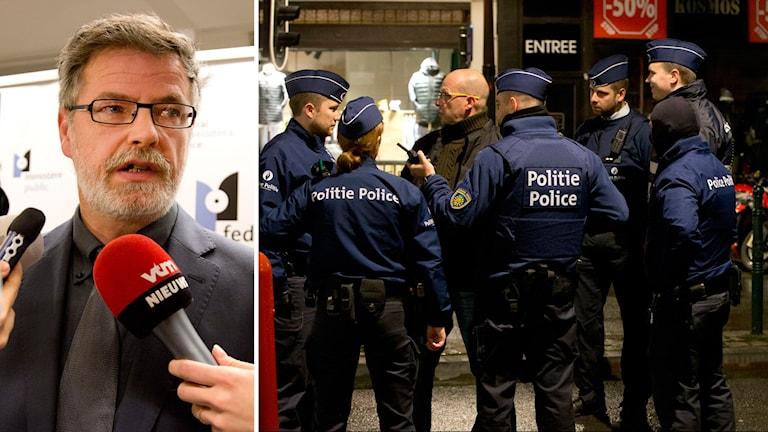 Federala åklagaren Eric Van Der Sypt och polisinsatsen i belgien. Foto: TT.