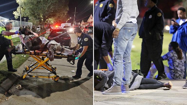 Minst 16 personer har skadats efter att två beväpnade män öppnade eld mot en folkmassa i New Orleans. Foto: TT.