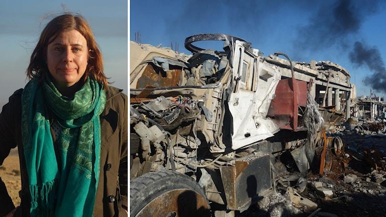 Sveriges Radios Mellanösternkorrespondent Katja Magnusson har besökt ett Sinjar i ruiner. Foto: Katja Magnusson/Sveriges Radio.
