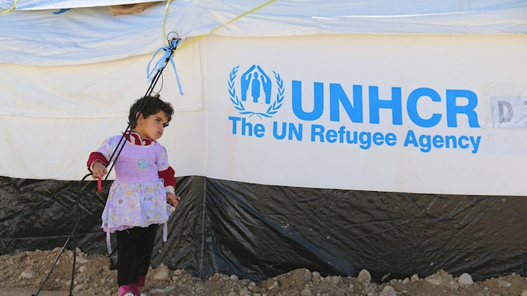 Ett barn står framför UNHCR-tält.