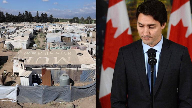 Ett flyktingläger i Libanon. Kanadas premiärminister Justin Trudeau. Foto: TT. Montage Sveriges Radio.