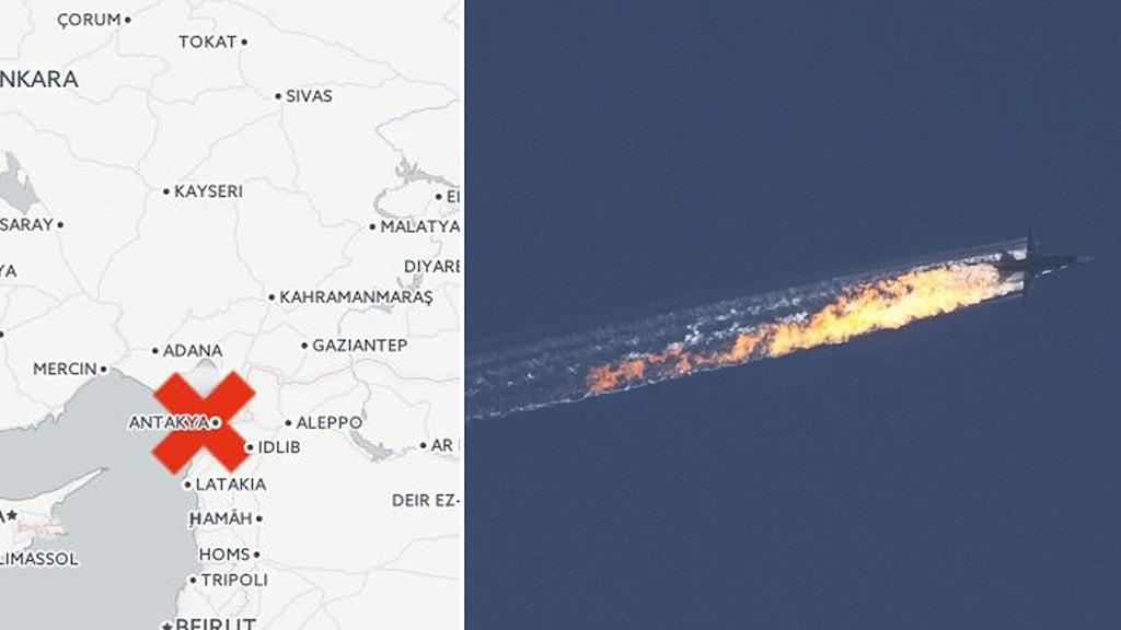 Ryskt stridsflyg nedskjutet. Grafik