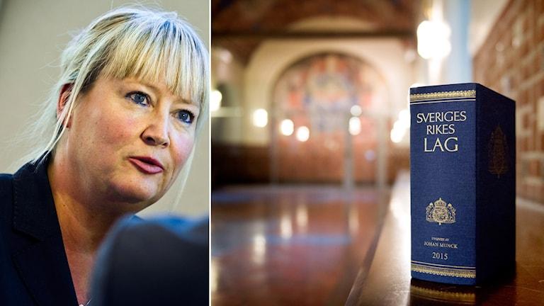 Bildmontage Mari Heidenborg och lagbok