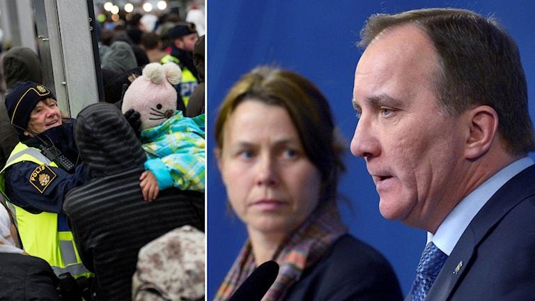 Delad bild: Asylsökande på Malmö central samt Stefan Löfven och Åsa Romson. Foto: TT.