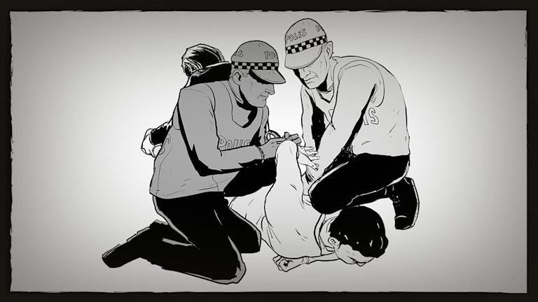 Illustration visar poliser som tvingar ner en man mot golvet, ver ett knä mot ryggen. Illustration: Robin Cedvin