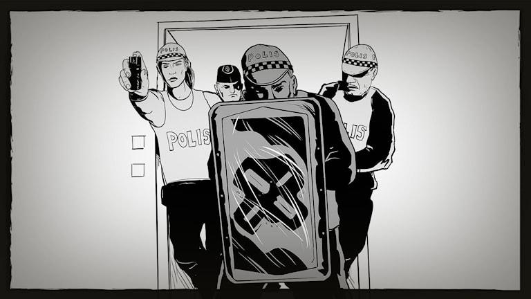Illustration visar poliser med sköld och pepparspray som stormar ett rum. Illustration: Giuseppe Cristiano.