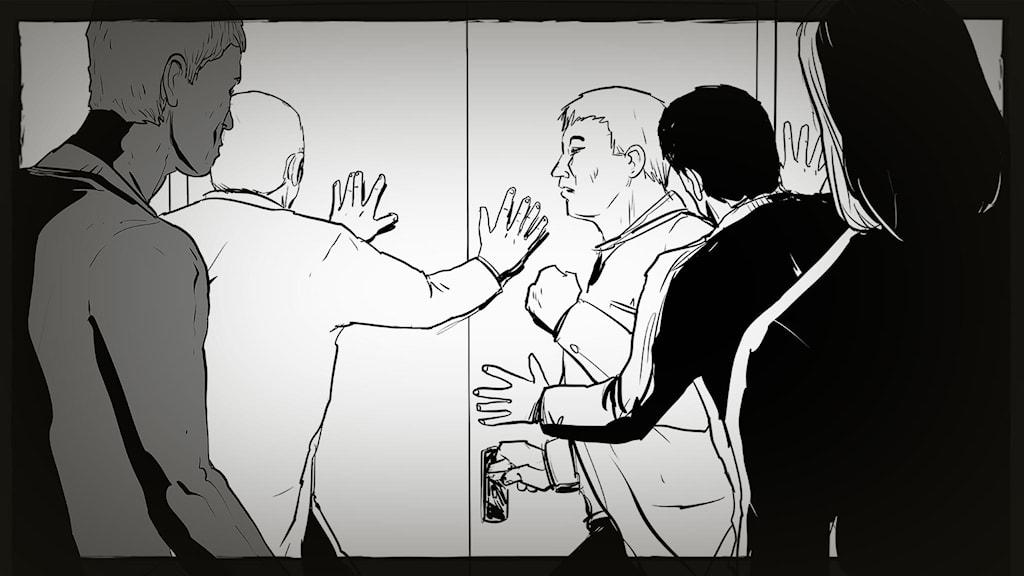 Illustration visar människor lyssnande utanför en stängd dörr. Illustration: Giuseppe Cristiano