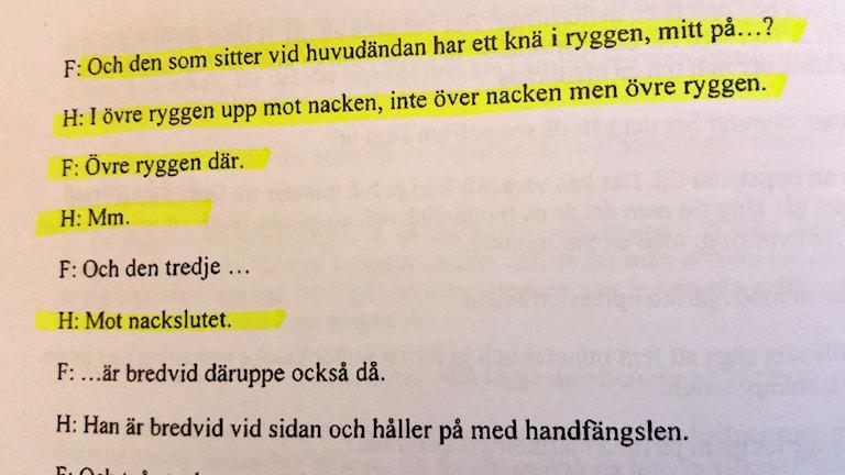 Text med vittnesuppgifter. Foto: Sveriges Radio.