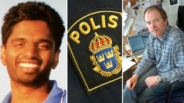 Tre bilder: Sinthu Selvarajah, ett polismärke och Dennis Töllborg. Foto: Privat/Henrik Montgomery och Anders Wejrot/TT.