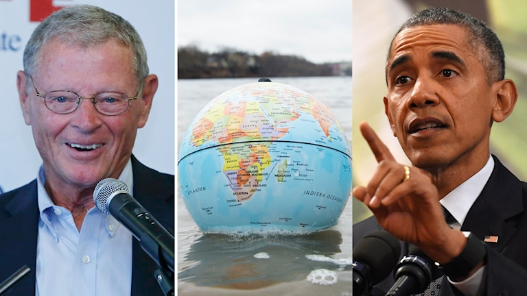 Senator Jim Inhofe (rep), en jordglob i en sjö, president Barack Obama. Foto: TT