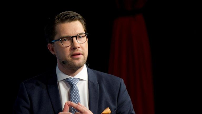 Sverigedemokraterna håller sina Landsdagar i Lund. Jimmie Åkesson håller ett inledningsanförande. Foto Björn Lindgren / TT /