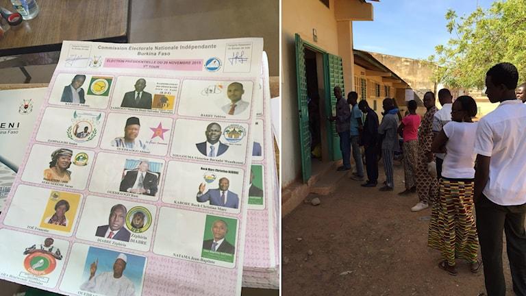 Valsedlar och kö in till vallokal i Burkina Faso, bildmontage