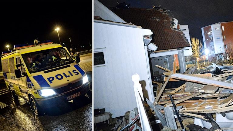 En bild på en polisbil och en bild på ett hus som skadats i stormen. Foto: Johan Nilsson/TT .