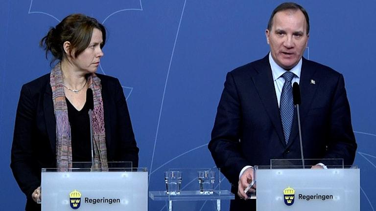 Statsminister Stefan Löfven (S) och vice statsminister Åsa Romson (MP). Foto: Janerik Henriksson/TT.