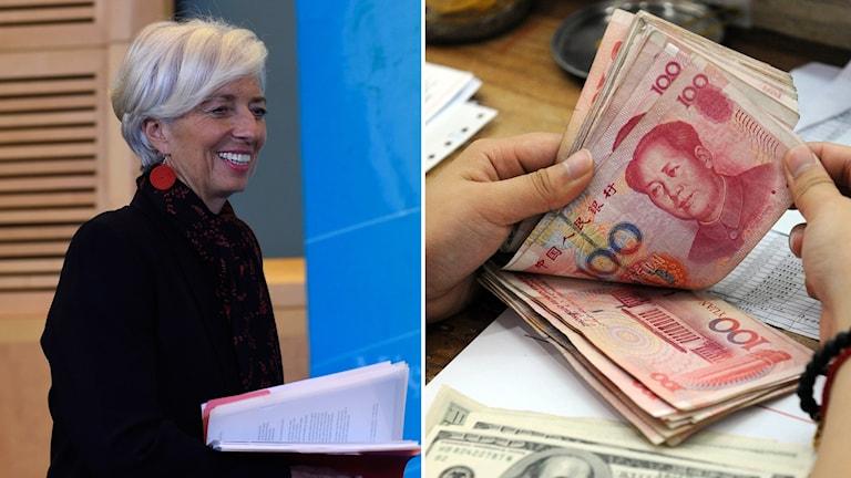 IMF:s Christine Lagarde och kinesisk valuta. Foto: Susan Walsh/TT.