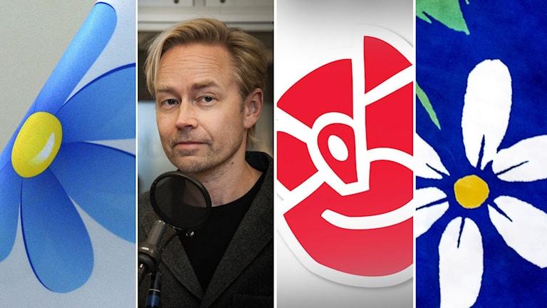 SD går framåt, medan S och KD backar i SCB-mätningen. Foto: TT och Pablo Dalence/Sveriges Radio. Montage: SR