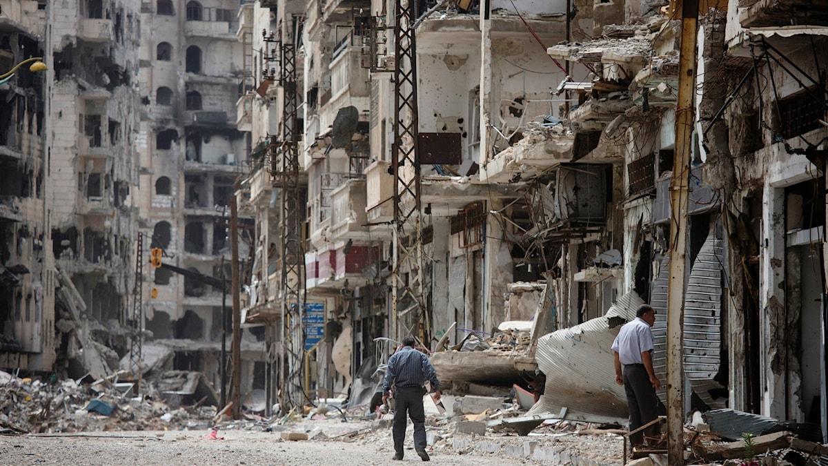 Homs - en stad i ruiner. Foto: Dusan Vranic/TT.