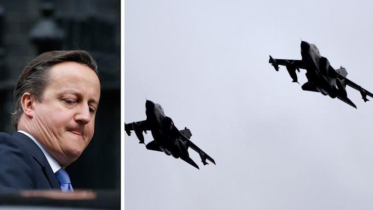 Storbritanniens premiärminister David Cameron och tornadoplan Foto: Matt Dunham och Carsten Rehder / AP