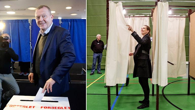Danmarks premiärminister Lars Loekke Rasmussen och Socialdemokraternas ledare Metter Fredriksen lade sina röster under dagen. Foto: Jens Dresling/AP och Lasse Kofod/AP.