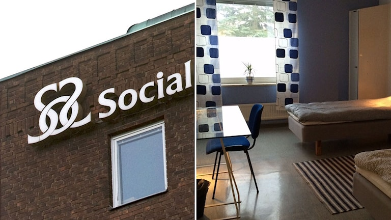 Socialstyrelse-skylt och inredningen i ett rum på ett HVB-hem.