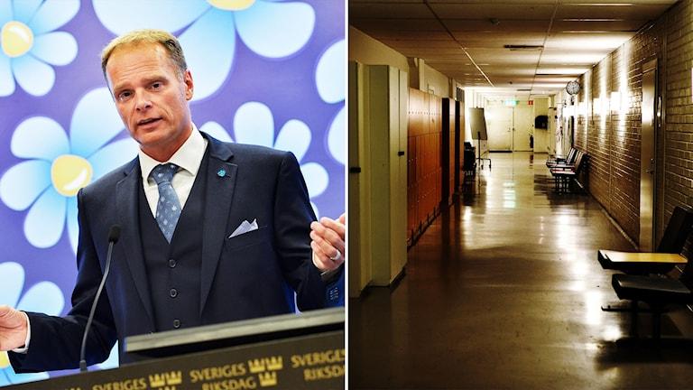 Stefan Jakobsson och en tom skolkorridor.