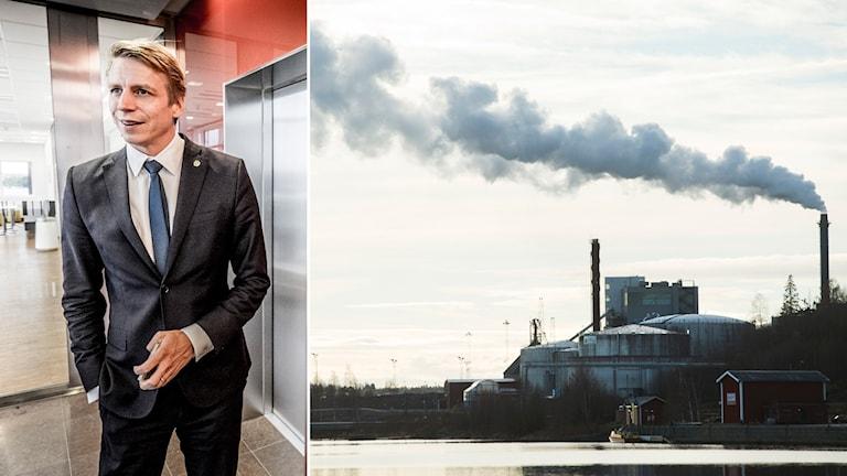 Finansmarknadsminister Per Bolund (MP) och rök ur fabriksskorsten. Foto: Magnus Hjalmarson Neideman/SvD/TT, Fredrik Sandberg/TT