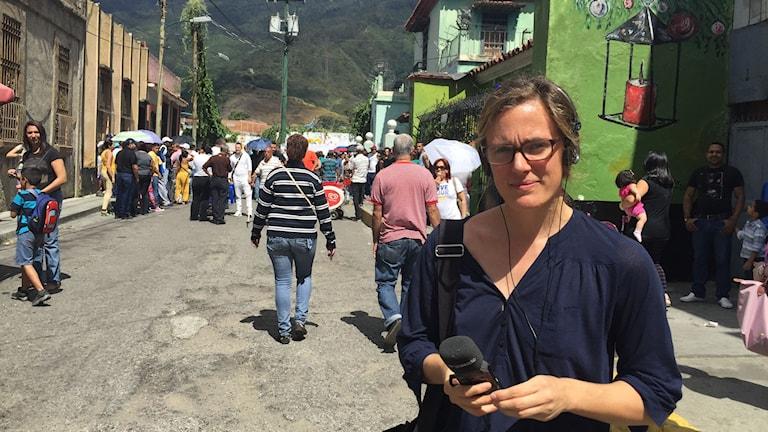 Sveriges Radios Latinamerikakorrespondent Lotten Collin i Caracas. Foto: Sveriges radio