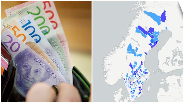 Läs om kommunernas svar om ekonomin 2016. Grafik: Sveriges Radio. Foto: TT.