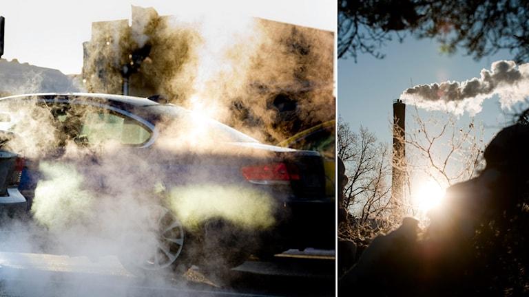 Bilar som sprutar ut avgaser och en skorsten som gör samma sak. Foto: Pontus Lundahl/TT och Henrik Montgomery/TT.