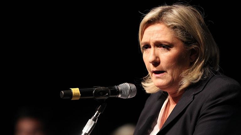 Nationella frontens partiledare Marine Le Pen. Foto: Pascal Pochard-Casabianca/TT.