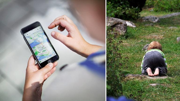 Bildmontage på smartphone och spädparn