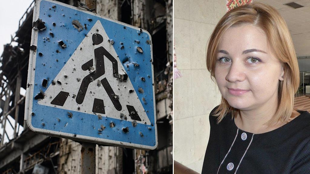 En vägskylt med kulhål i  och en kvinna. Foto: Maria Persson Löfgren/Sveriges Radio