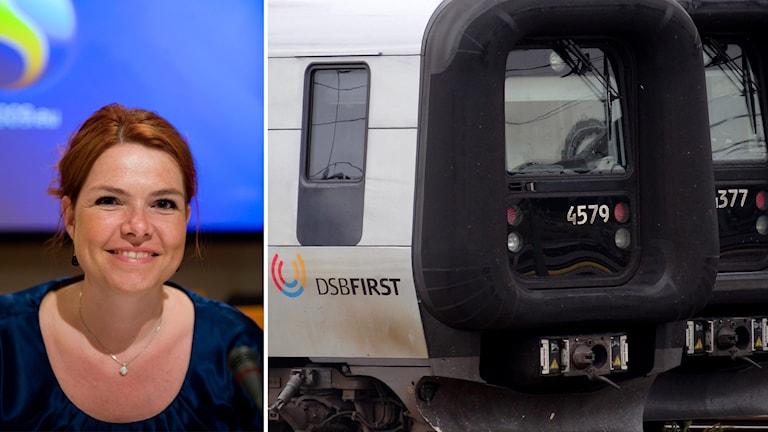 Högerpartiet Venstres Inger Støjberg och bild på DSB-tåg.