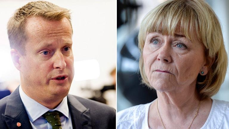Inrikesministern Anders Ygeman, S, och Beatrice Ask, M. Foto: TT Montage: Sveriges Radio