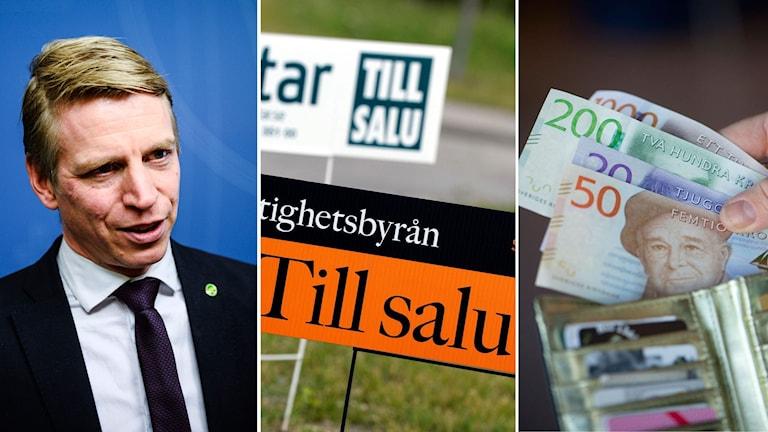 Finansmarknadminister Per Bolund hoppas att amorteringskravet införs redan till nästa sommar. Foto: TT Montage: Sveriges Radio.