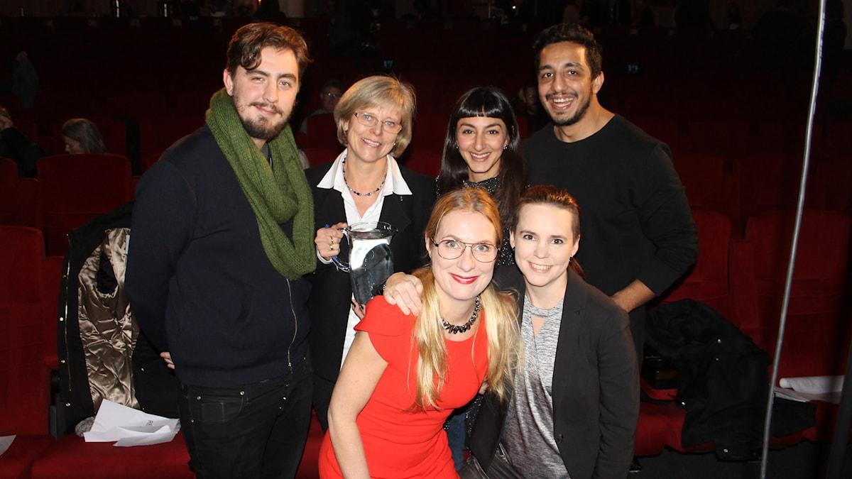 Annika Lantz och Sara Lövestam med Jack Werner, Ingrid Carlberg, Seher Yilmaz och Ehsan Fadakar.