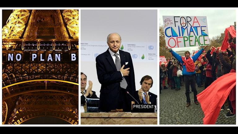 Laurent Fabius presenterade delar av det nya utkastet muntligt samtidigt som demonstrationer pågår i Paris. Foto: TT samt Beatrice Janzon.