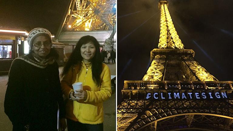 Två kvinnor under Eiffeltornet.