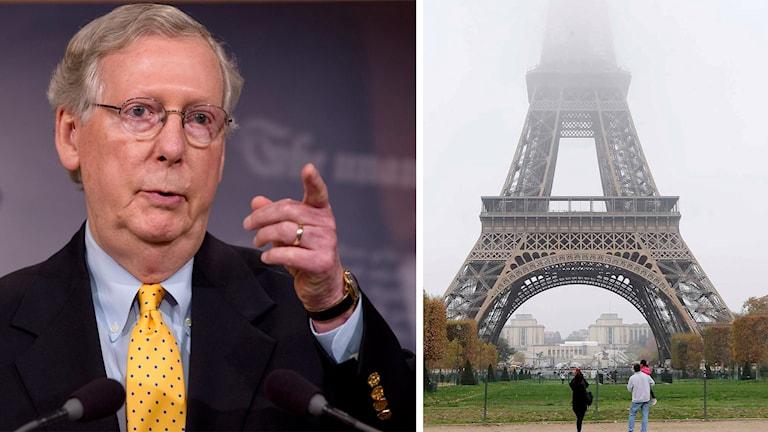 Mitch McConnell och Eiffeltornet i Paris. Foto: Jacquelyn Martin och Jacques Brinon/TT.