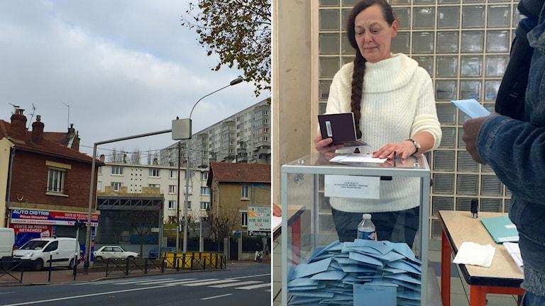 Delad bild, gata och valförrättare som kontrollerar ett pass. Foto: Beatrice Janzon/Sveriges Radio
