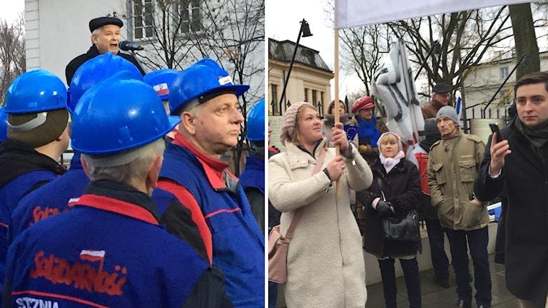 Demonstranter. Foto: Thella Johnson/Sveriges Radio