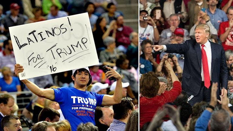 Donald Trump och en supporter som håller upp en skylt med texten Latinos för Trump.