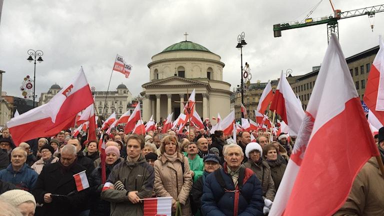 Polen Stöddemo PiS många människor på torg med rödvita flaggor