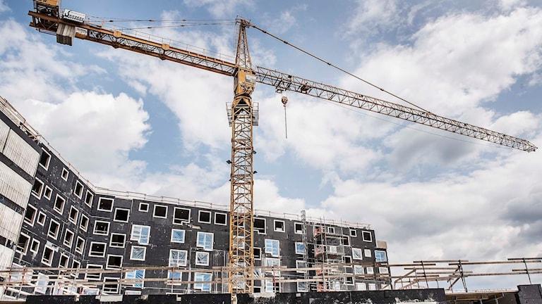 Byggkran på ett bostadsbygge. Foto: Tomas Oneborg/TT.