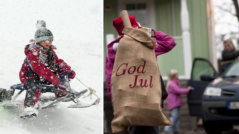 Barn som åker kälke och familj som åker till julfirande i plusgrader. Foto: TT Montage: Sveriges Radio