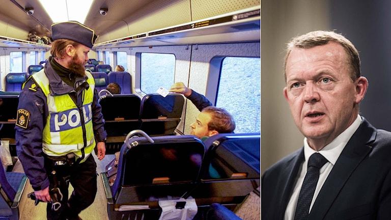 Id-kontroll på tog och Danmarks statsminister Lars Løkke Rasmussen. Foto: TT. Montage: Sveriges Radio.