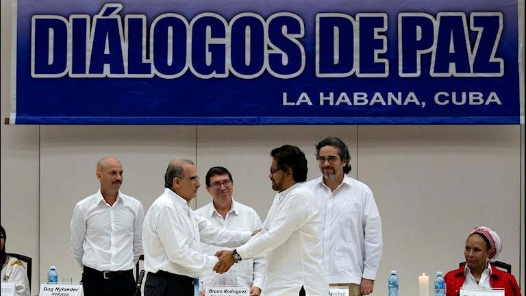 Chefsförhandlarna för den colombianska regeringen och Farc-gerillan skakar hand. Foto: Ramon Espinosa/TT.