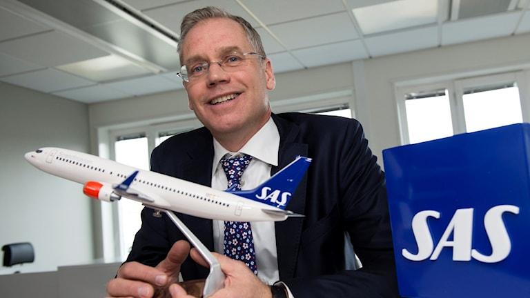 SAS vd Rickard Gustafson tror på vinst för företaget även nästa år. Foto: TT.